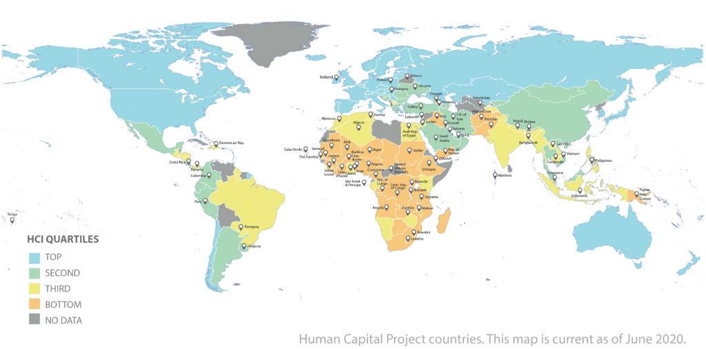 Карта индекса человеческого капитала HCI Всемирного банка