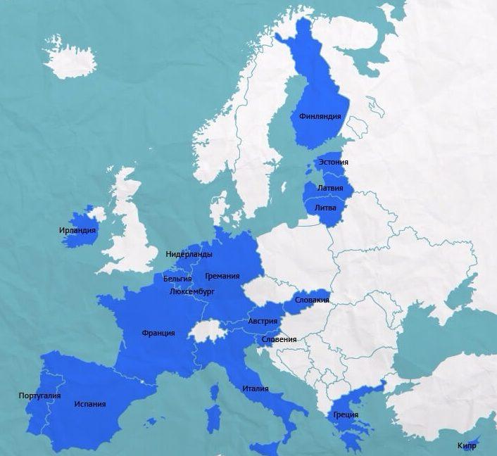 Страны Зоны Евро на карте