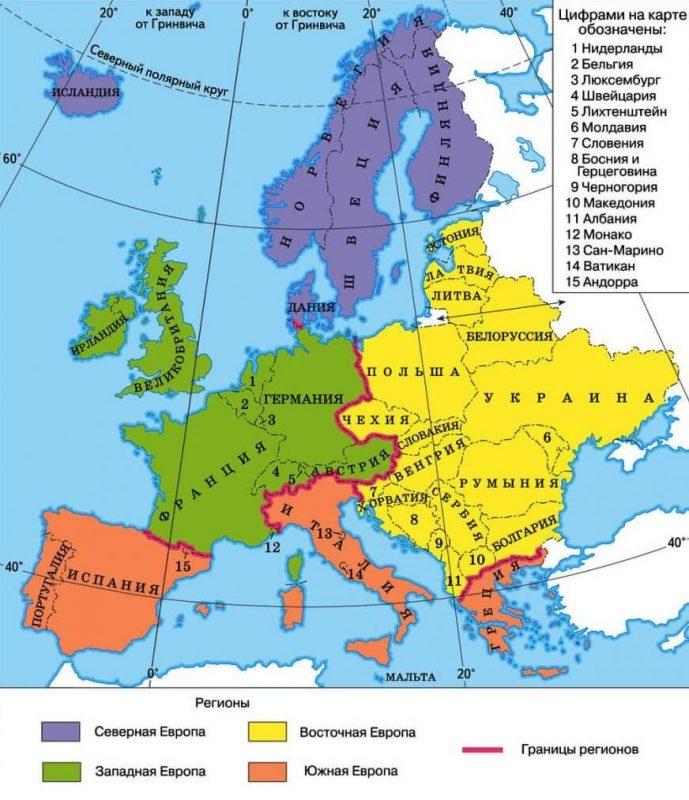 Регионы Европы - Северная, Южная, Западная, Восточная